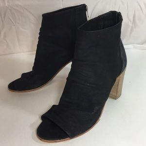 Free people open toe booties wood heel 38/8 New